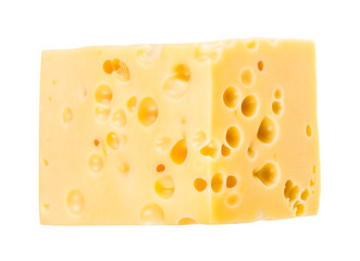 hunk of yellow swiss cheese with internal holes
