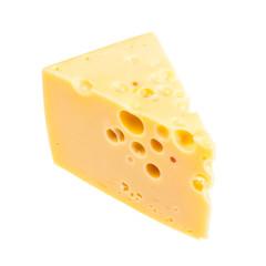 triangular piece of yellow semi-hard swiss cheese