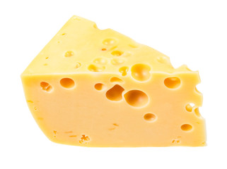 hunk of yellow semi-hard swiss cheese isolated