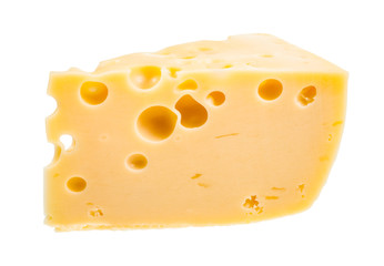 piece of yellow semi-hard swiss cheese isolated