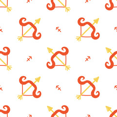 Colorful sagittarius zodiac sign vector seamless pattern background.
