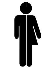 Unisex toilet, loo aka restroom sign. Man, woman figures on white background.