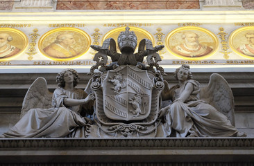 Coat of arms of Pope Pius IX, basilica of Saint Paul Outside the Walls, Rome, Italy