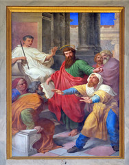 The fresco with the image of the life of St. Paul: The Blinding of the False Prophet, basilica of Saint Paul Outside the Walls, Rome, Italy