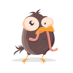 funny cartoon illustration of a bird with worm
