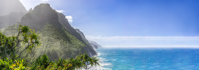 Scenic ocean paradise panorama, Na Pali Coast State Park on the island Kauai, Hawaii