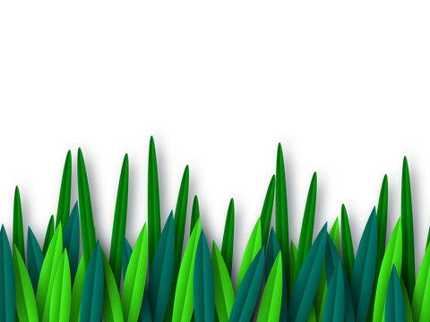 Paper cut style green leaves isolated on white.