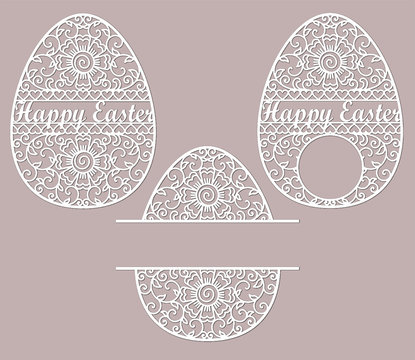 Openwork oval with a lace ornament. Laser cutting template. Easter egg with floral pattern, curls. Vector silhouette. Easter design elements. Illustration isolated on color background. Vector graphics
