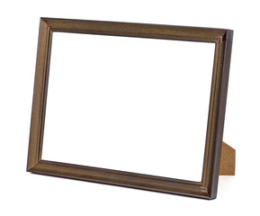 Brown wooden picture frame on white background