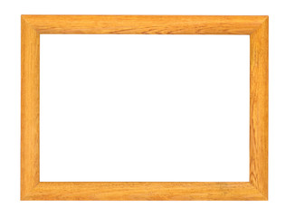 Wooden picture frame on white background