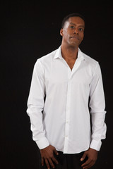 Handsome black man in a white shirt