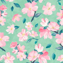 Seamless background pattern of pink Sakura blossom or Japanese flowering cherry symbolic of Spring suitable for textile, wrapping, textiles.