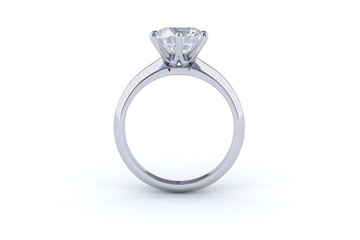 Solitaire diamond engagement ring isolated on white background