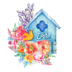 Happy easter - decorated blue birdhouse with orange bird, flowers and fluffy catkins. Hand drawn watercolor painting illustration isolated on white background.