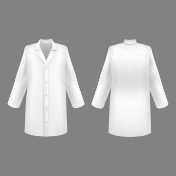 Realistic 3d Detailed White Medical Lab Coat Set. Vector