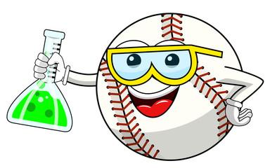 Baseball ball cartoon funny character chemist cruet isolated