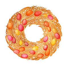 Happy easter - yellow wreath of wicker spring twigs with a cute colored eggs. Hand drawn watercolor painting illustration isolated on white background.