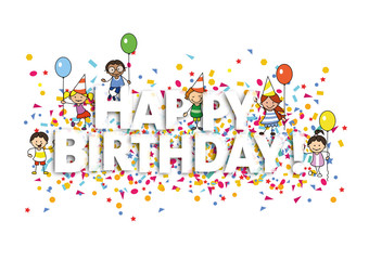 Happy Birthday card with confetti and kids illustration -