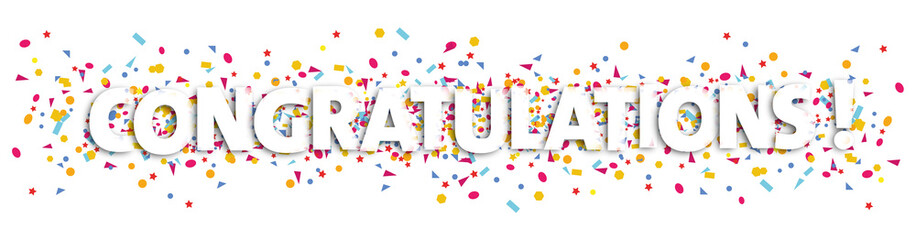 congratulations text and confetti illustration - congratulation