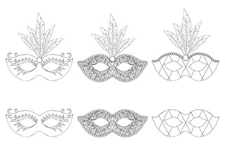 Collection of hand drawn masks. Isolated on white. Mardi gras. Black and white. Vector illustration.