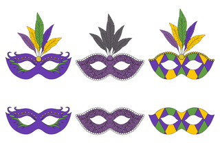 Collection of hand drawn masks. Isolated on white. Mardi gras. Vector illustration.