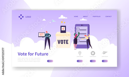 Online E-voting Registration Concept Landing Page  Man Voting in