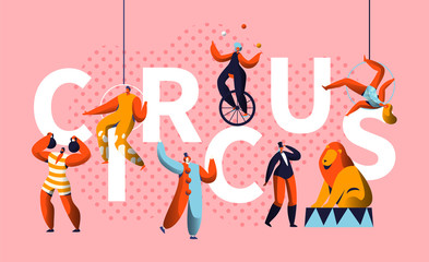 Circus Carnival Show Character Typography Horizontal Poster. Magician and Unicycle Juggler Entertainment. Funny Costume Strongman Colorful Advertising Letter Banner Flat Cartoon Vector Illustration