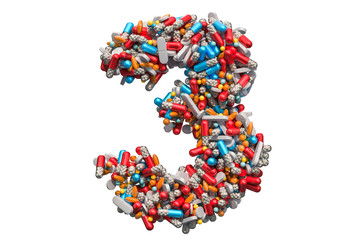 Number 3 from medicine pills, capsules, tablets. 3D rendering