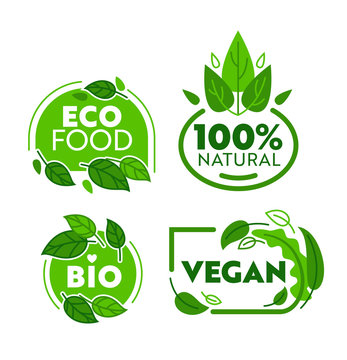Green Eco Vegetarian Organic Food Sticker Set