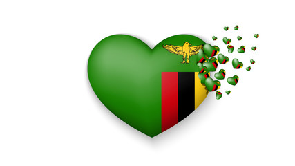 National flag of Zambia in heart illustration. With love to Zambia country. The national flag of Zambia fly out small hearts on white background