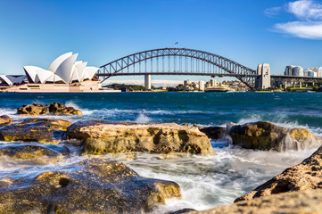 Aluminium Prints Sydney sydney harbour view with opera house, bridge and rocks in the foreground