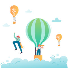Business People Characters Flying in Air Balloon in Search of New Idea. Super Businessman Career Growth. Solution and Innovation Concept with Light Bulb. Vector illustration