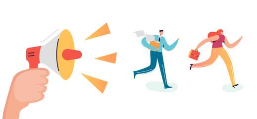 Business Characters Running to Work Office. Boss Shouting in Loudspeaker Employees Rush. Deadline Overtime Concept. Vector illustration