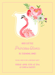 Baby Birthday Invitation Card with Illustration of Beautiful Flamingo and Flowers, arrival announcement, greetings in vector