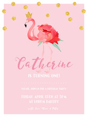 Baby Birthday Invitation Card with Illustration of Beautiful Flamingo and Golden Glitter Dots, arrival announcement, greetings in vector