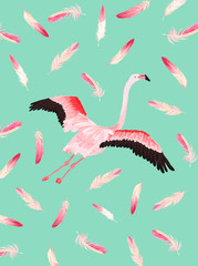 Illustration of Beautiful Flamingo with place for Baby Name for Poster Print, Baby Greetings, Invitation, Children Store Flyer, Brochure, Book Cover in vector