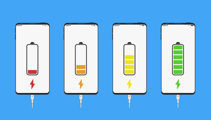 Smartphone, Mobile Smartphone set of White and Black colour in realistic style with Energy Battery indicator icon with, level of charge, usb cable. Vector Illustration. Blue background.