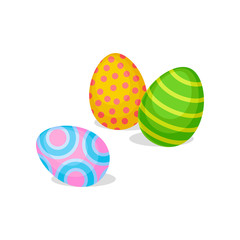 Three eggs with different ornaments. Happy Easter. Spring holiday. Flat vector for greeting card or banner