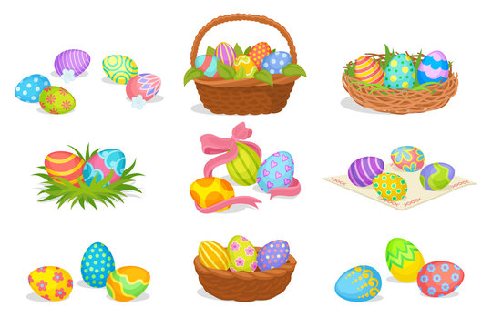 Flat vector set of cute Easter compositions. Painted eggs in baskets and nest. Spring holiday