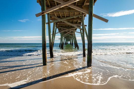 Waves under Pier in Atlantic Beach, North Carolina Damaged by Hurricane Florence