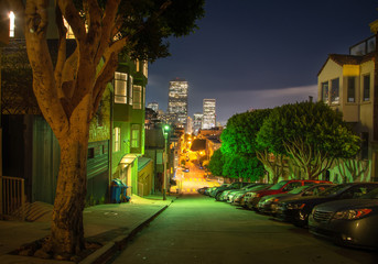 Fototapete - Night street at San Francisco with Lombard Street/Distance view