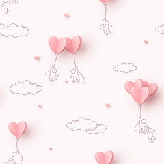 Paper hearts balloons with people flying on pink background. Vector love seamless pattern for Happy Mother's or Valentine's Day greeting card design.