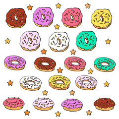 Multicolored donuts with stars on a white background