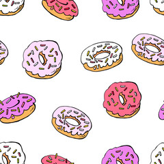 Seamless pattern with donuts on a white background. Gentle, pastel colors