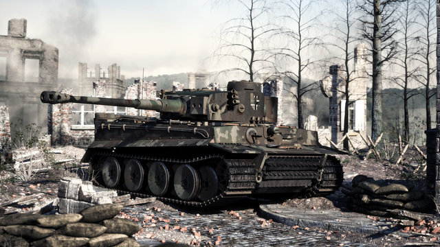 Vintage German World War 2 armored heavy combat tank poised on the battlefield . WWII 3d rendering