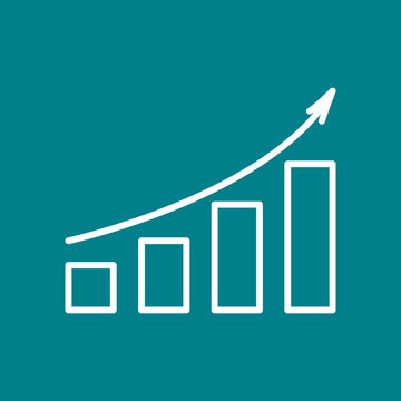 Line chart with up arrow. Vector illustration.