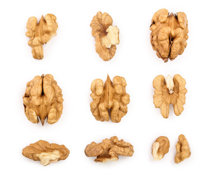 Walnuts isolated on white background. Top view. Flat lay. Set or collection