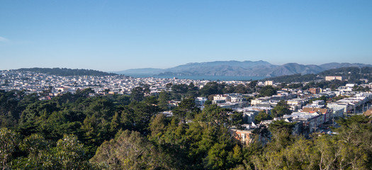 Panoramic view of the city from the De Young Museum in San Francisco, California