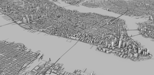Vista satellitare delle città di New York City, mappa della città, edifici in 3d, 3d rendering. Strade e grattacieli di Manhattan.