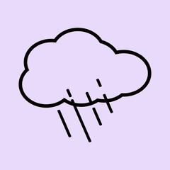 Black cloud with heavy rain icon in vector.